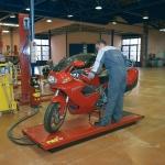 Verificación de alineación de motocicletas